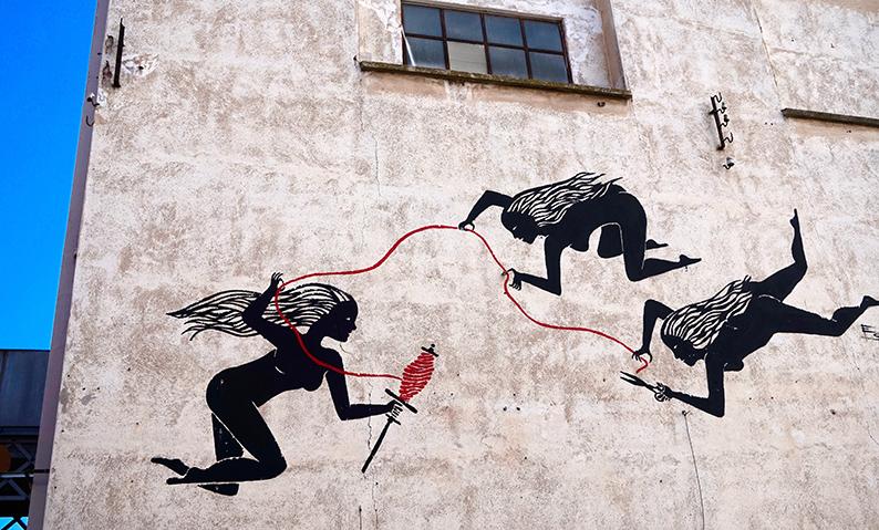 Mural amb tres filoses. Fàbrica Roca Umbert
