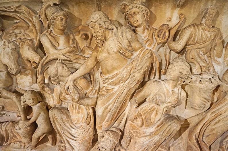 Relleu d'el rapte de Proserpina en un sarcòfag romà. Museu d'Arqueologia de Catalunya